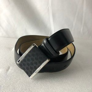 TUMI Men T-Fit Gunmetal Black Leather Belt, 36